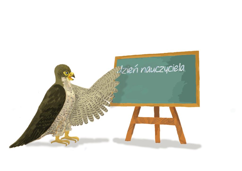 """Orzeł wskazuje na tablicę, gdzie jest napisane: """"dzień nauczyciela"""""""