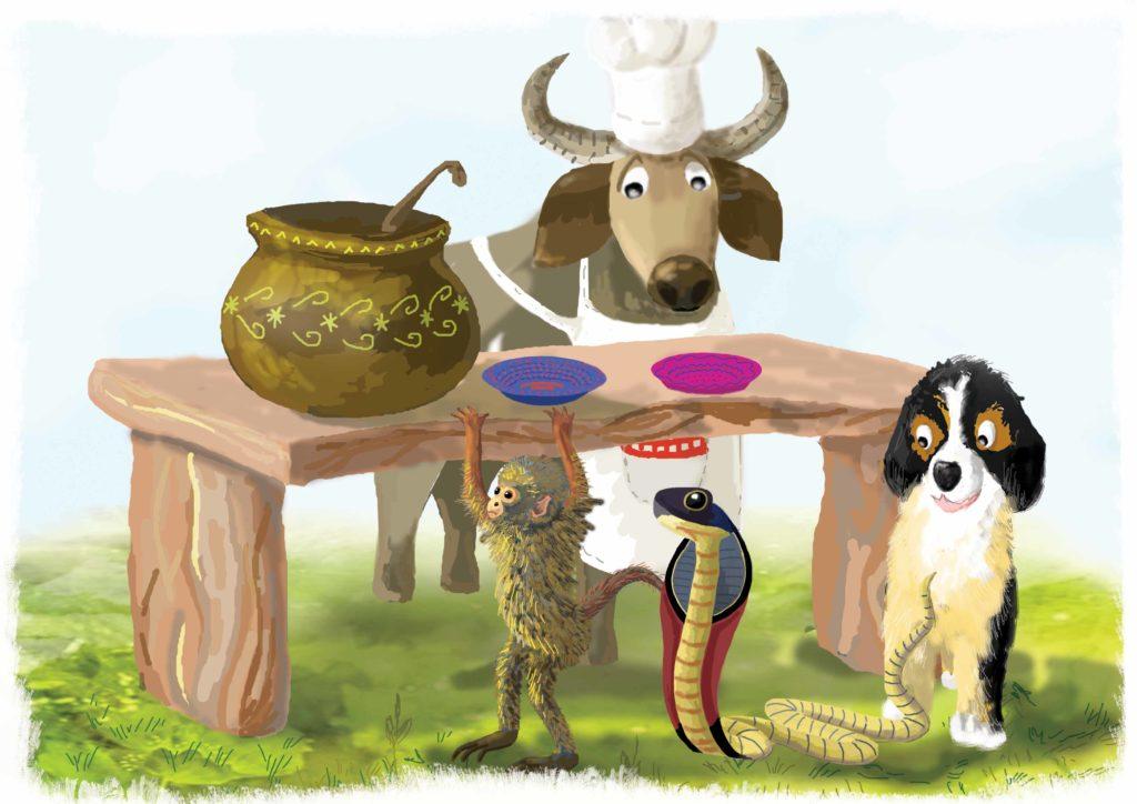 Zwierzęta przy stole oddają puste miseczki
