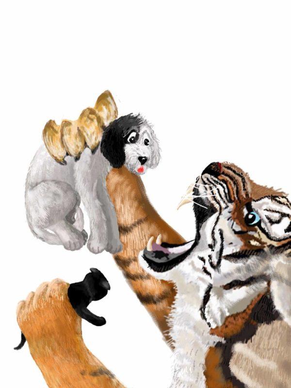 Tygrys ryczy i trzyma w łapach kotka i psa