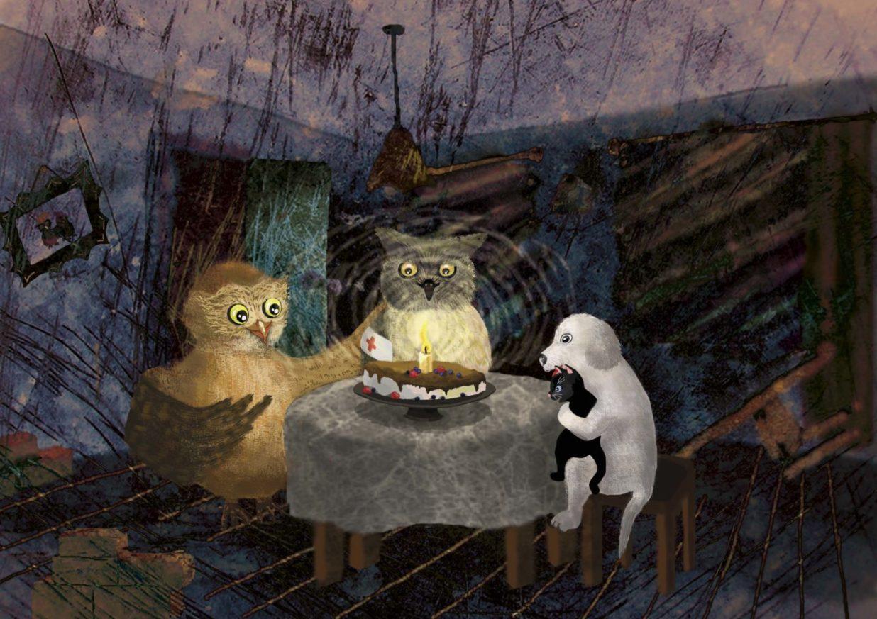 Zwierzątka w częściowo zniszonym domu wokół stołu na którym stoi tort