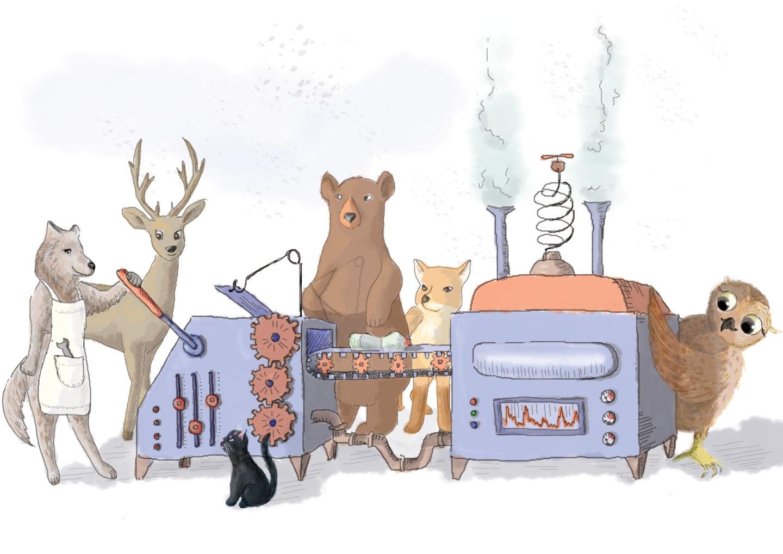 Zwierzęta przy maszynie