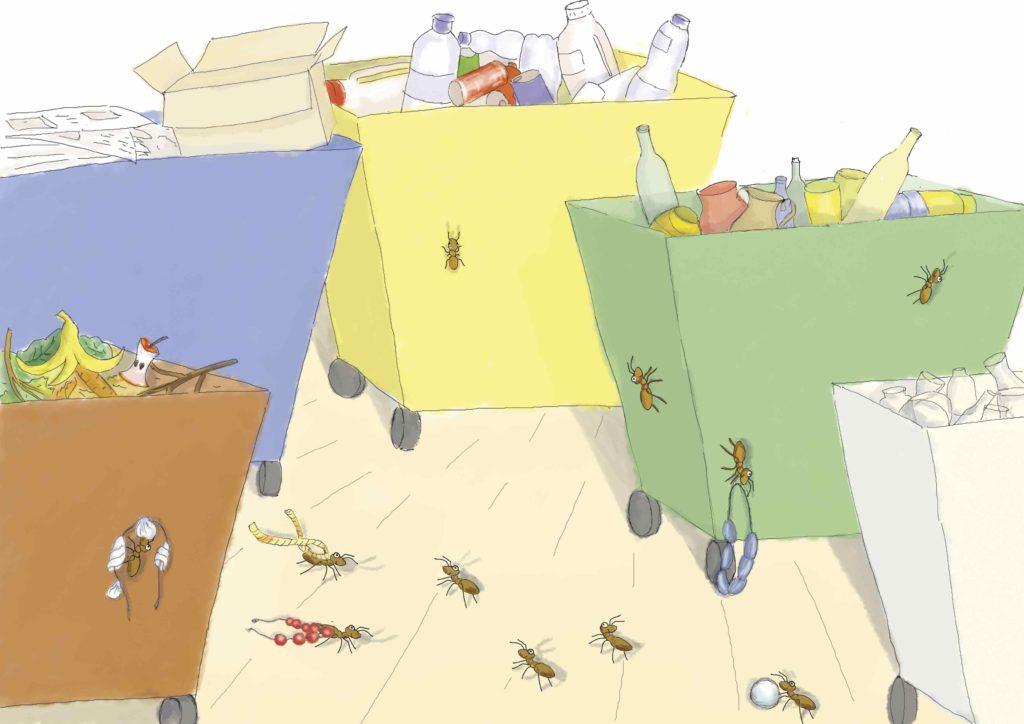 Mrówki na koszach do segregacji śmieci