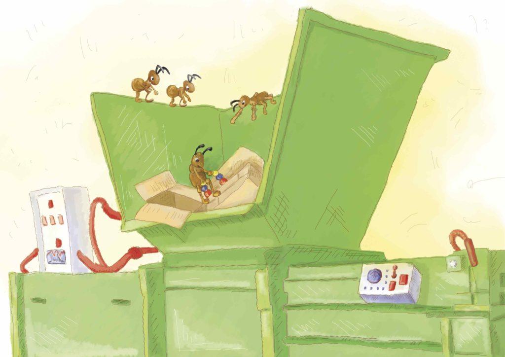 Mrówka na maszynie do segregacji odpadów