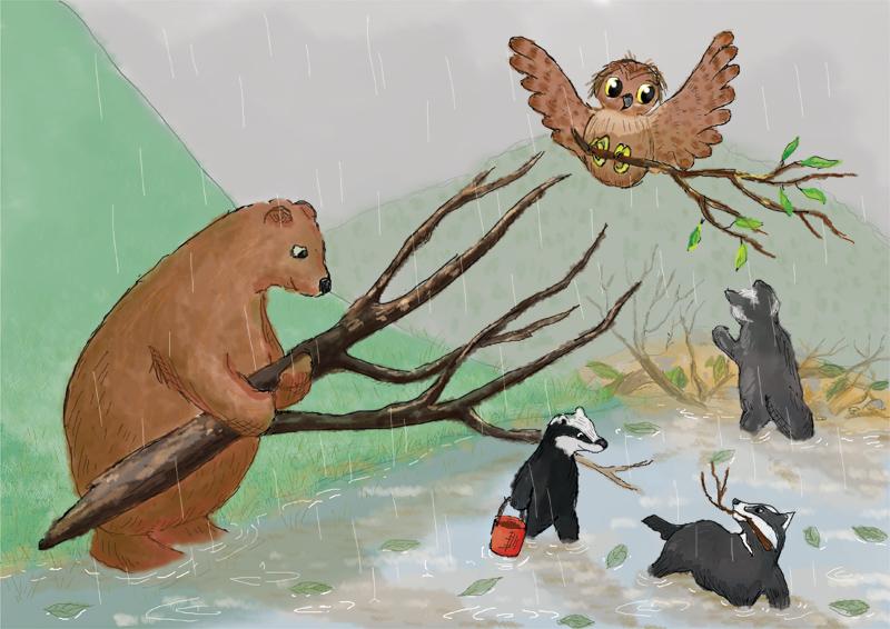 Zwierzęta zbierają gałęzie