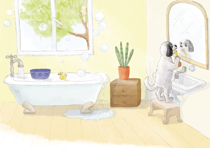 Pies myje zęby w łazience