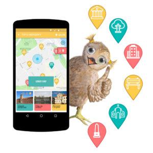 Sowa wygląda zza smartphona gra geolokacja