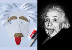 Maska Einsteina po lewej stronie grafili i zdjęcie Einsteina po prawej