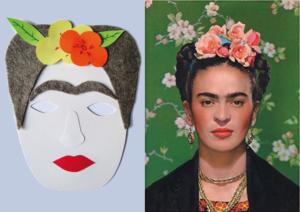 Maska Fridy Kahlo po lewej stronie grafiki i jej zdjęcie - po prawej