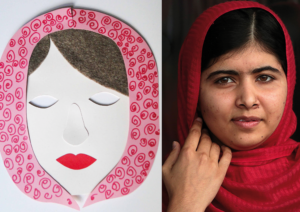 Maska Malali po lewej stronie grafiki, a po prawej - zdjęcie Malali