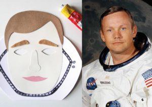 Maska Neila Armstronga po lewej stronie grafiki i jego zdjęcie - po praweji