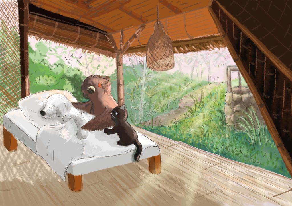 Sowa i kotka stoją przy łóżku, w którym leży Urwis