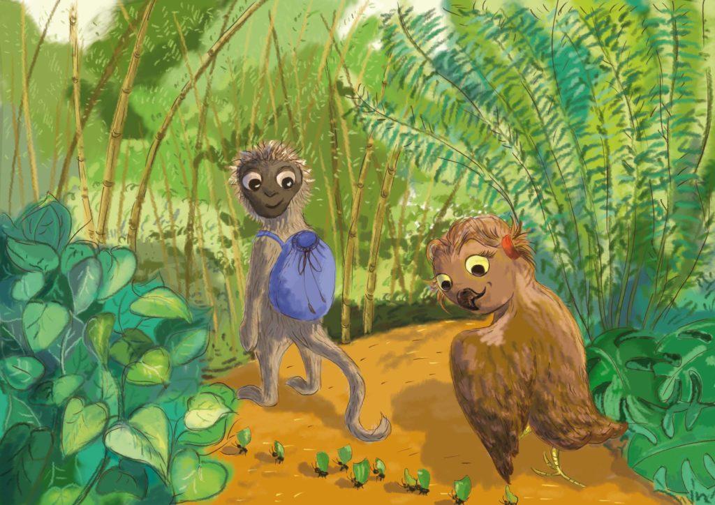 Pola i Sari idą przez las