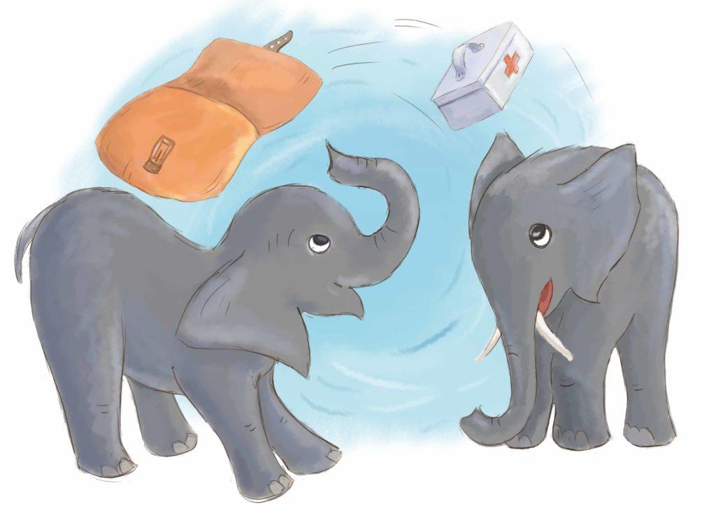 słoniątka bawią się torbą lekarza