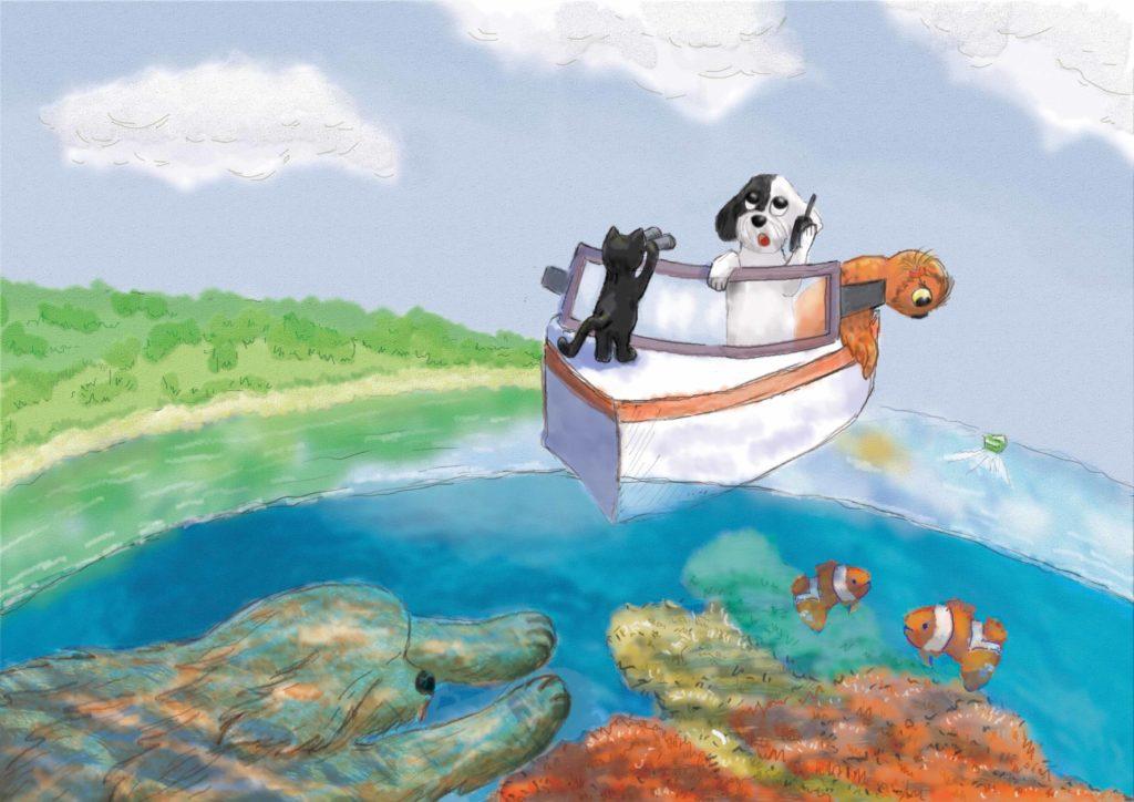 Zwierzęta patrzą z motorówki na rafę koralową