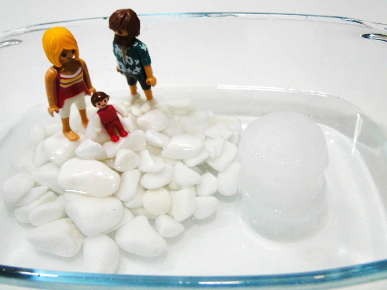 do naczynia z wodą i kamykami dodana jest bryła lodu