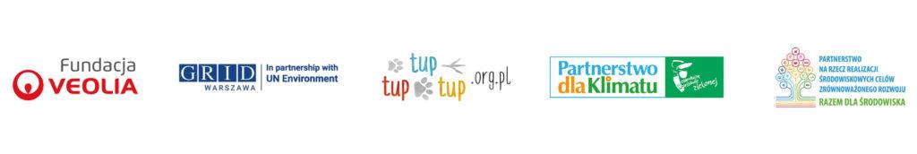 logotypy partnerów: Fundacja Veolia, UNEP GRID, TupTupTup, Partnerstwo dla Klimatu, Partnerstwo na rzecz realizacji środowiskowych SDG