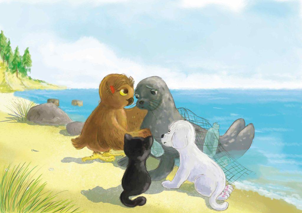 Sowa, kot i pies patrzą z niepokojeniem na fokę, która zaplątała się w sieć rybacką i plastikowe śmieci