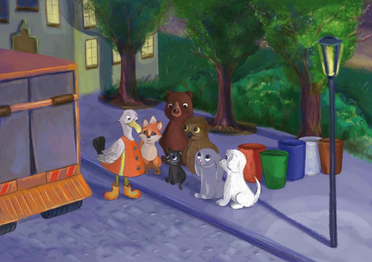 Dzieci słuchają Pana Gerwazego mówiącego o zasadach segregacji śmieci
