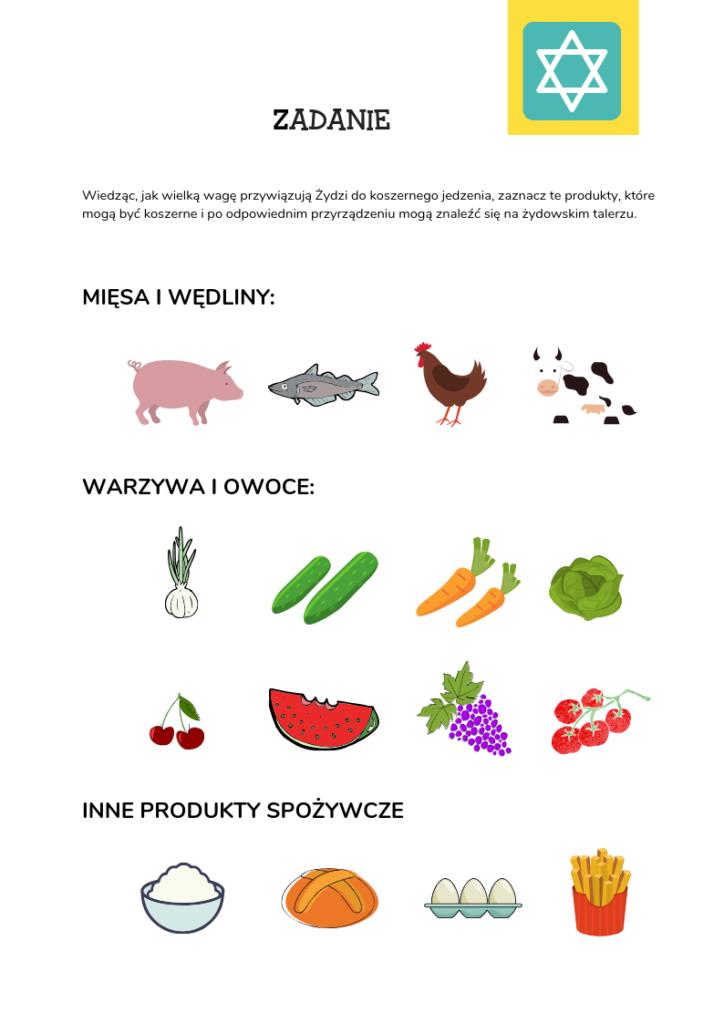 na obrazku widać około 20 produktów spożywczych, które należy zakreślić infomrując które z nich jest koszerne