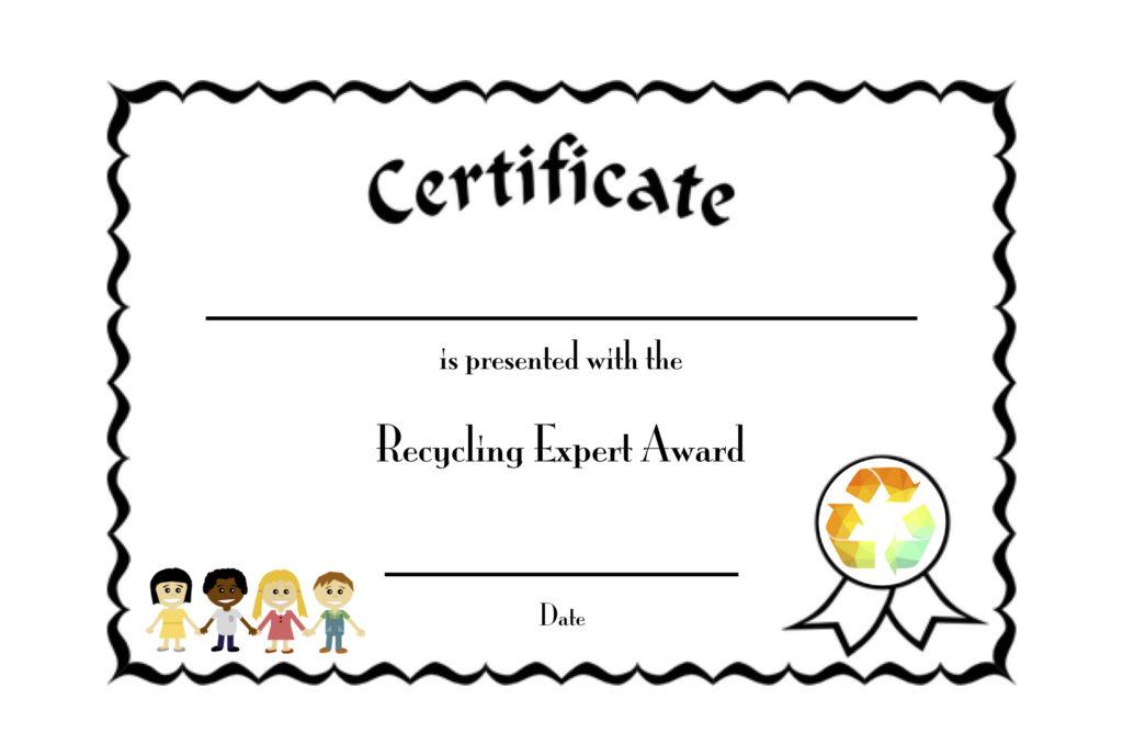 recycling expert award certificate