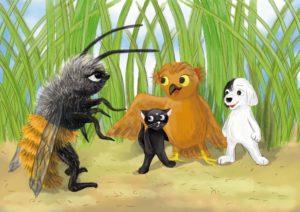 pszczoła-gigant patrzy na naszych przyjaciół, kotka Tola jest wyraźnie przestraszona, sowa ją przygarnia skrzydłem do siebie, Urwis uśmiecha się