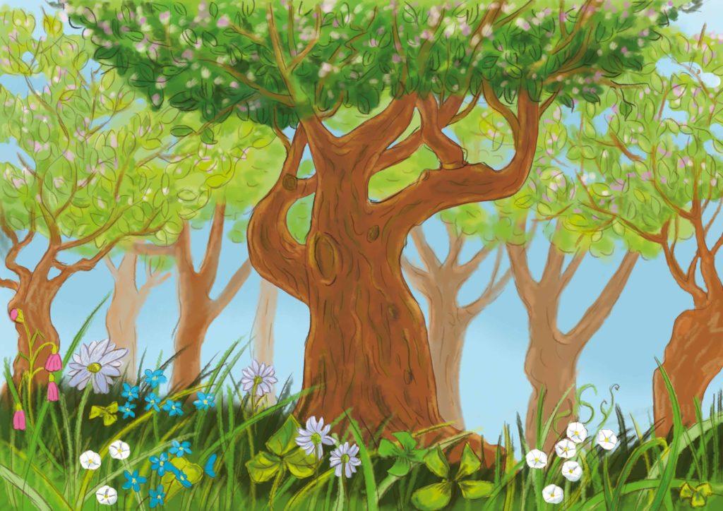 piękne stare drzewo, stojące na kwiatowej łące