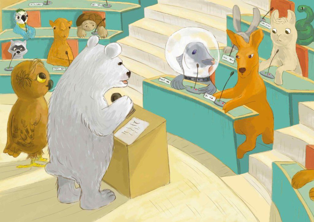 sala konferencyjna, zwierzęta siedzą przy stołach i uważnie słuchają niedźwiedzia polarnego