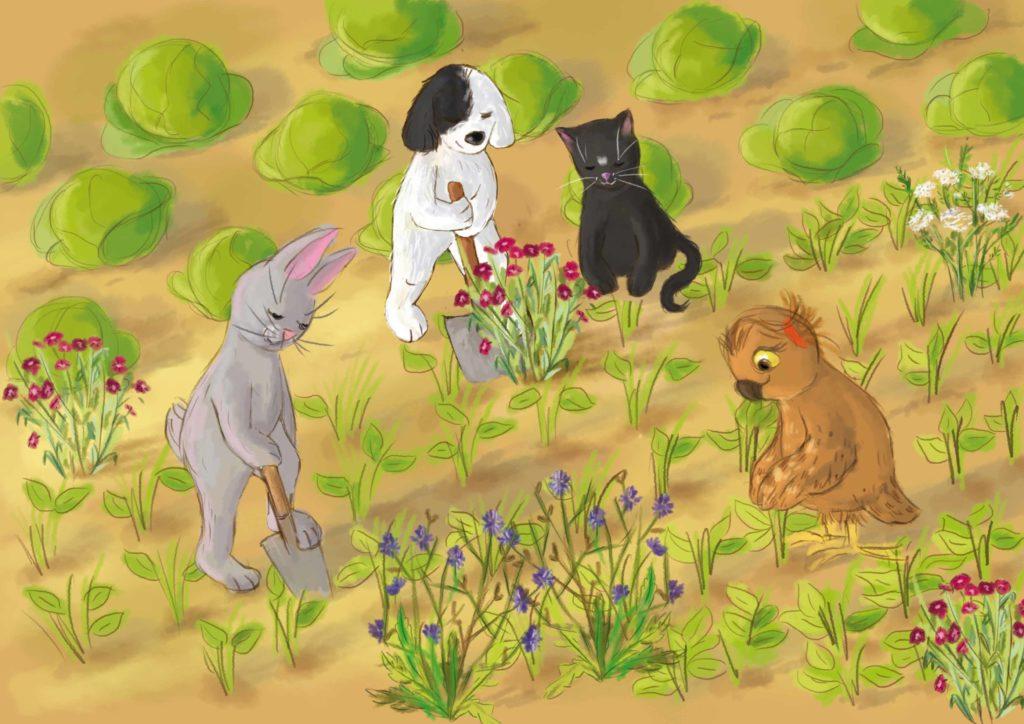 zwierzaki sadzą kwiaty między grządkami rzodkiewki