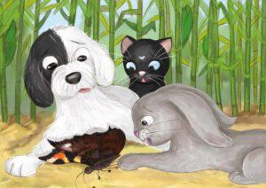 Kot, pies i królik z lękiem patrzą na umierającego motyla