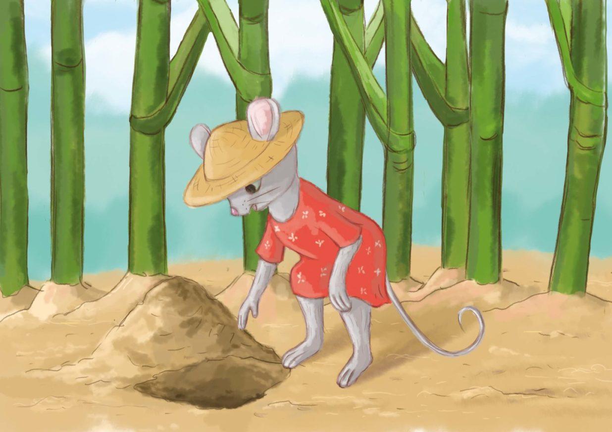 Myszka ze zdziwieniem patrzy na dołek w ziemi