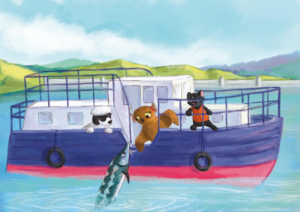 zwierzaki stoją w łodzi i rozmawiają z rozpłakaną bieługą