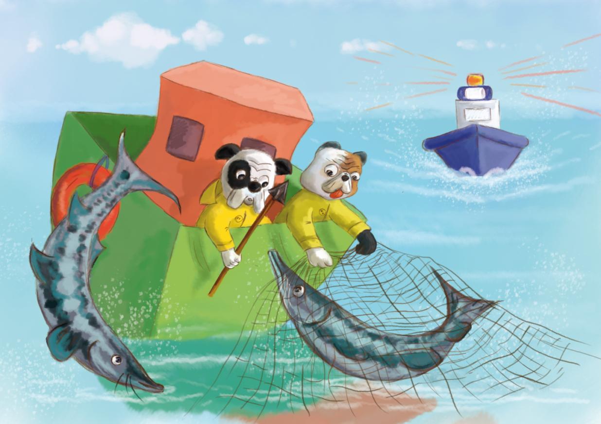 Dwa buldogi trzymają sieci i harpun, próbują wyciągnąć bieługę z wody