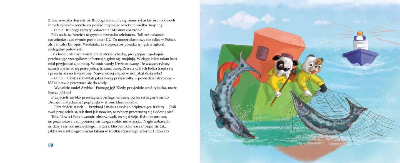 """jedna ze stron książki """"Niesamowite przygody Toli, Poli i Urwisa"""""""