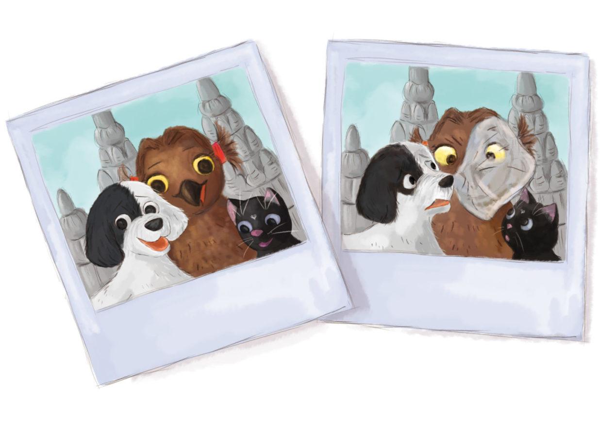 dwa zdjęcia, na jednym trójka bohaterów się uśmiecha, a na drugim torebka plastikowa zasłania sowie twarz