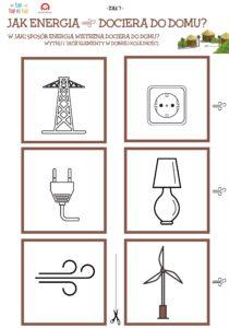 symbole wiatru, wiatraku, lampy, wtyczki do prądu, linii przesyłowych i gniazdka