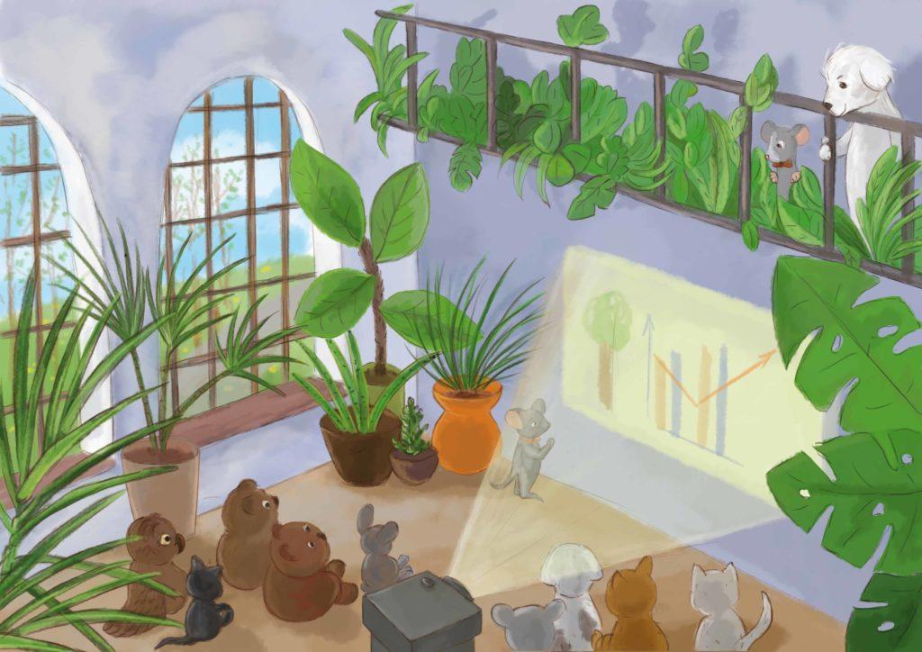 duża sala pełna roślin, na ścianie wyświetla się prezentacja, kilkanaście zwierzaków słuchają wystąpienia szczurzycy