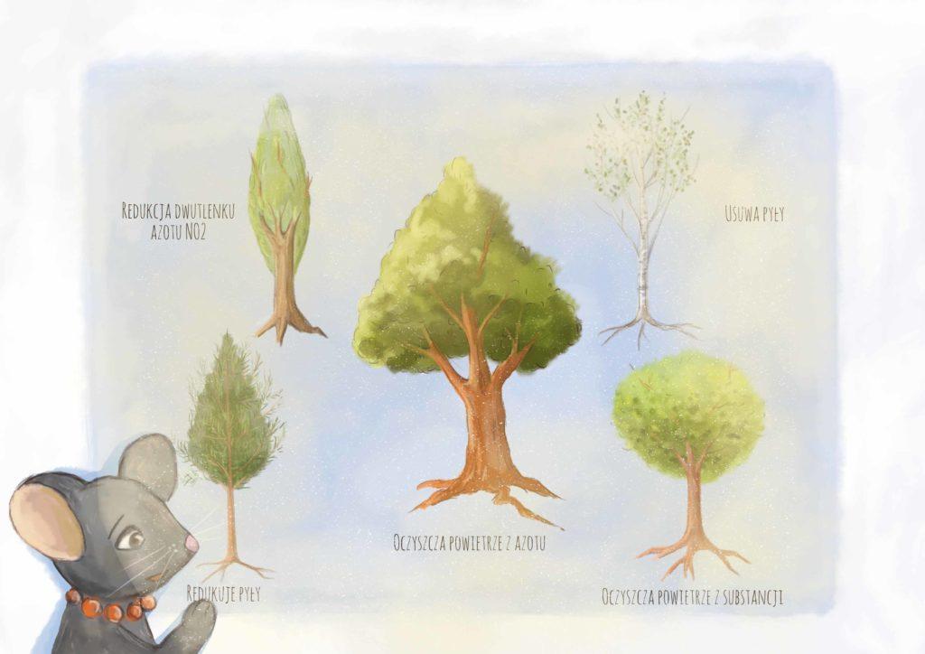 szczurzyca na tle prezentacji o korzyści drzew