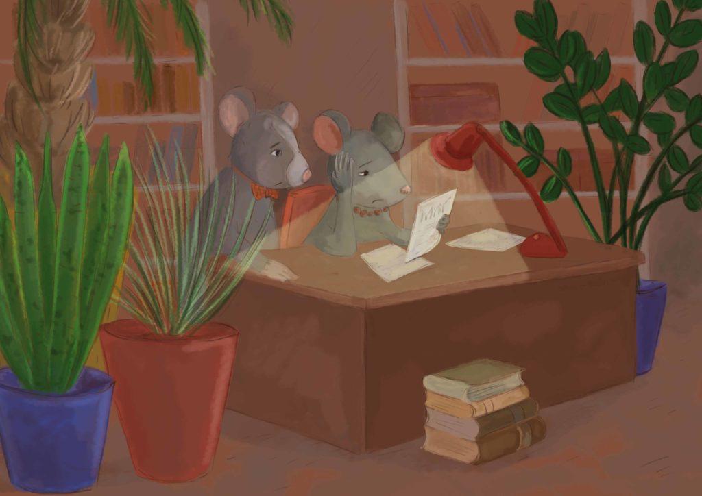 szczurek i szczurzyca siedzą wieczorem przy biurku, mają zmartwione twarze