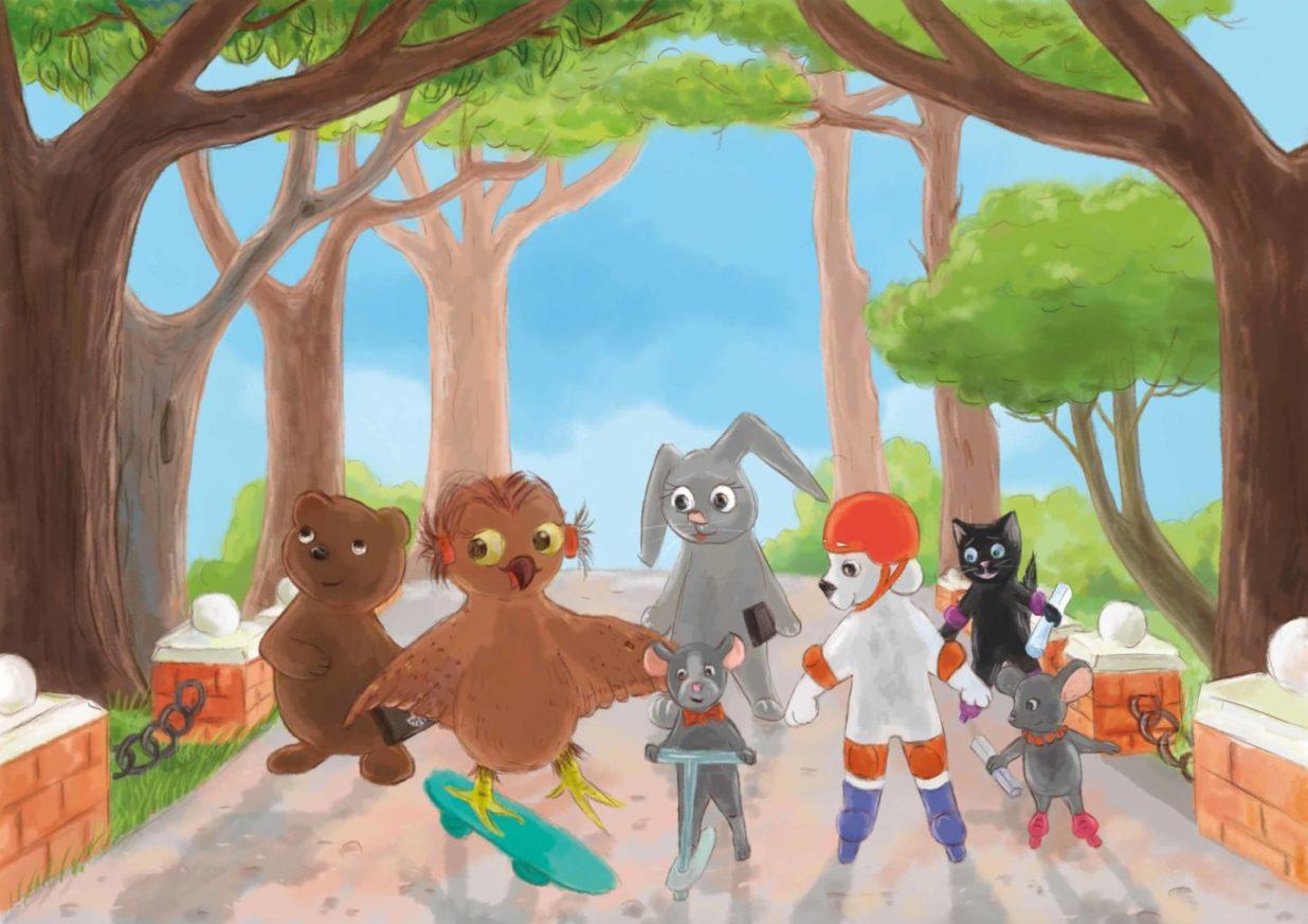 grupka zwierzaków na rolkach, deskorolkach i hulajnogach jadą po ścieżce parkowej