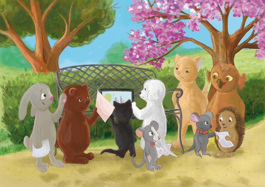 park, zwierzęta stoją dookoła ławki, razem coś dyskutują