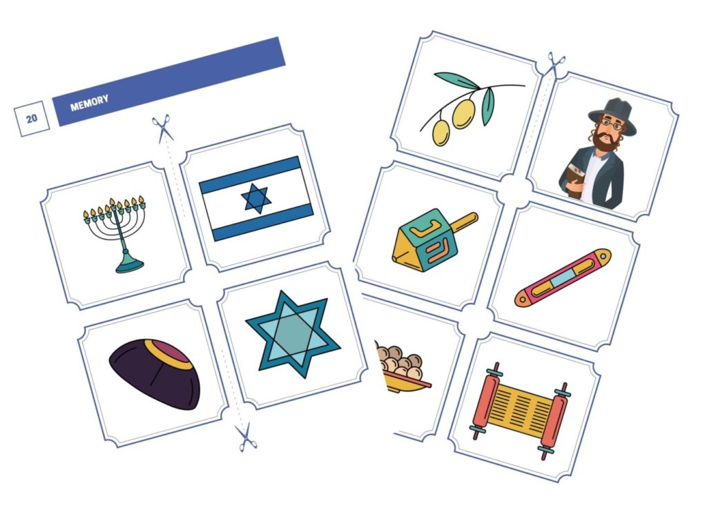Memory: a card matching game about Jewish symbols