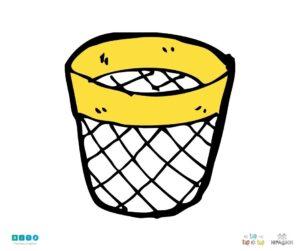 żółty kosz na śmieci