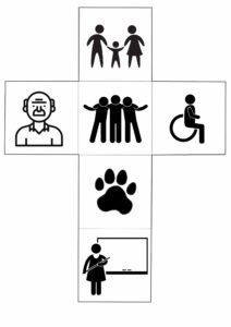 ikonki do kostki : starsza osoba, łapa zwierzęcia, osoba z niepełnosprawnością, rodzina, nauczycielka, przyjaciele